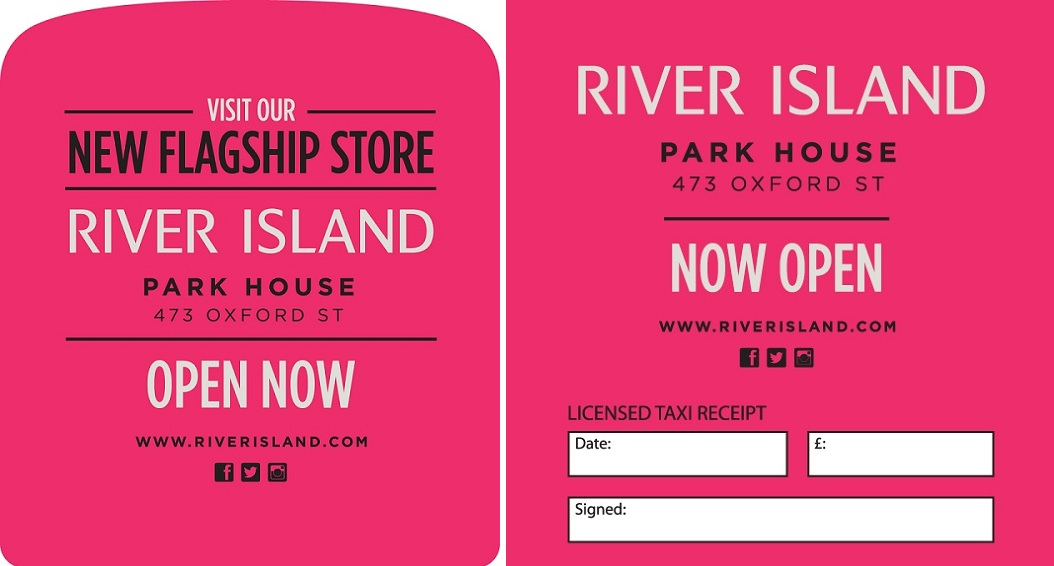 River Island - Taxi Tipseat - Taxi Receipt