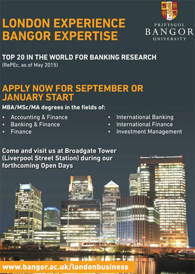 bangor university london business school advert