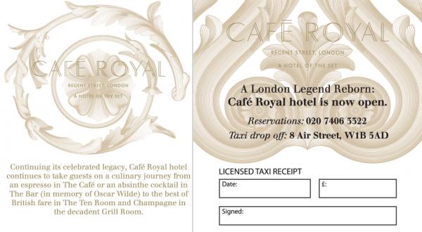 Cafe Royal - Taxi Receipt Pads