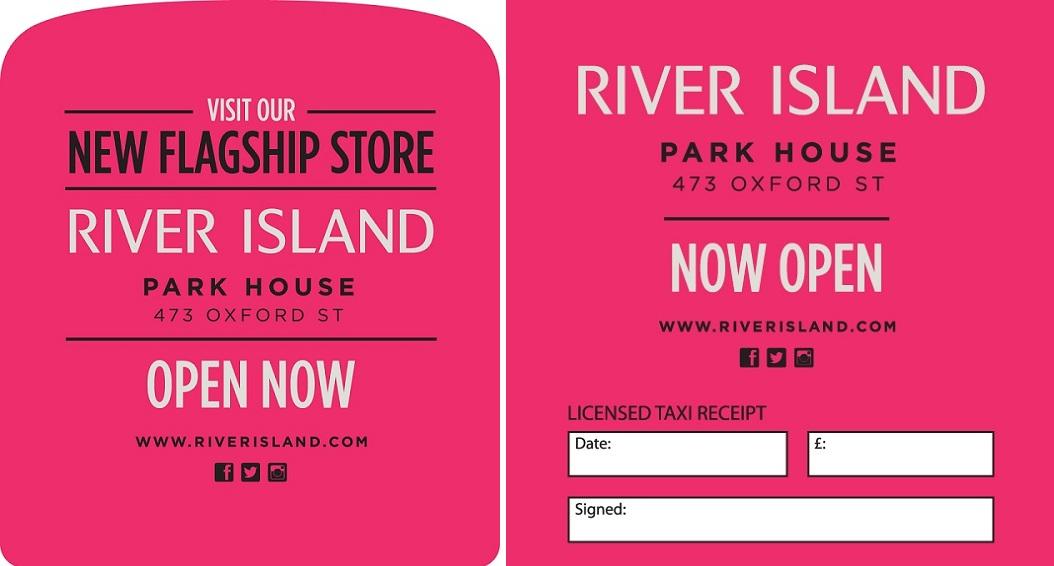 River Island - Taxi Tipseat - Taxi Receipt