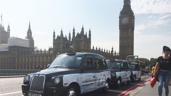 China Southern Airlines taxi advertising outside the Houses of Parliament
