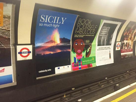 Visit Sicily Cross Track Advert at Euston Station