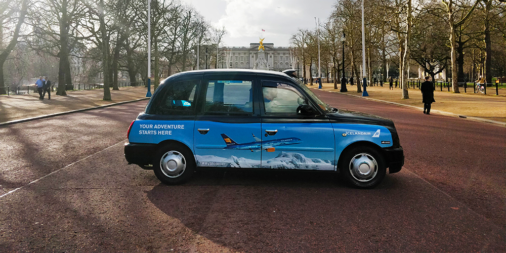 super sdie taxi advertisising iceland air in london